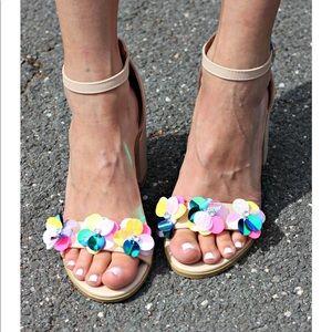 Boohoo floral chunky heel sandal
